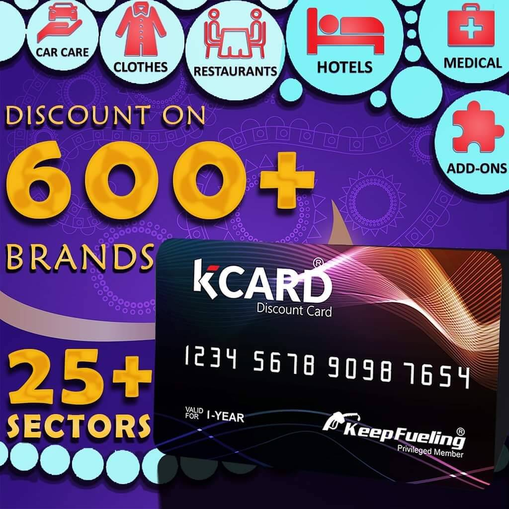 K CARD is Offering Discount on 600+ Brands in 25+ Sectors